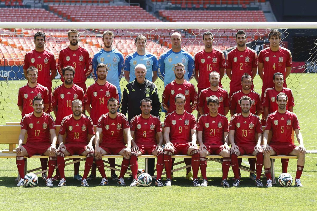 Spanish national soccer team pose for an official team picture in Washington